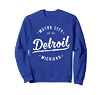 Retro Vintage Detroit Michigan Motor City T Shirt Souvenir Sweatshirt Royal Blue
