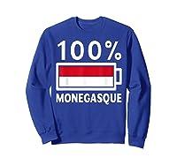 Monaco Flag T Shirt 100 Monegasque Battery Power Tee Sweatshirt Royal Blue