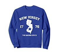 New The Garden State Vintage New Home Shirts Sweatshirt Royal Blue
