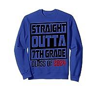 Straight Outta 7th Grade Class Of 2024 Graduation Shirts Sweatshirt Royal Blue