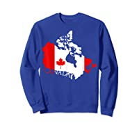 Proud Canada Flag Map T-shirts Maple Leaf Shirt Canada Day T-shirt Sweatshirt Royal Blue