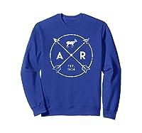Arkansas Adventure Shirt Est 1836 Deer Arrow State Gift Sweatshirt Royal Blue