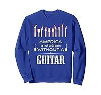 Patriot Guitarist T Shirt America Flag Guitar Sweatshirt Royal Blue