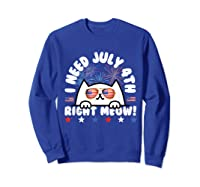 Cat July 4th Independence Day Meow Gift Shirts Sweatshirt Royal Blue