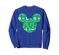 Disney Mickey Christmas Snowflakes T Shirt Sweatshirt Royal Blue