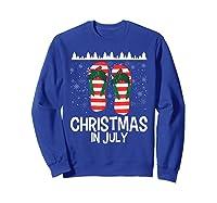 Christmas In July Santa Flip Flop Summer Xmas Gift Shirts Sweatshirt Royal Blue