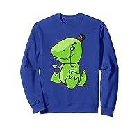 Tea Rex Cute Dino English Tea Drinking Party Shirts Sweatshirt Royal Blue