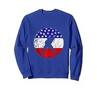 American Flag Hockey Vintage Retro Hockey Player Shirts Sweatshirt Royal Blue