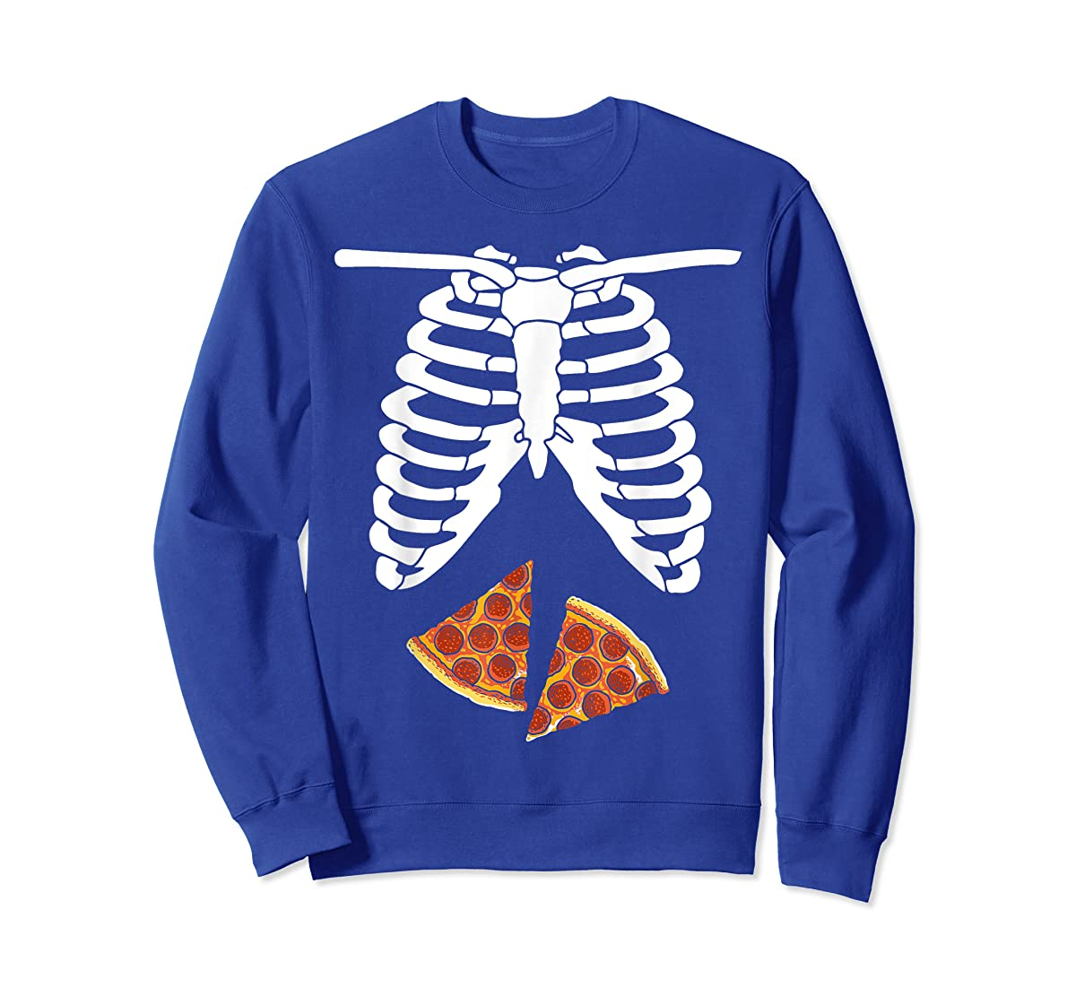 Halloween Skeleton Xray Pizza Slices Costume Rib Cage Easy T-Shirt-Sweatshirt-Royal
