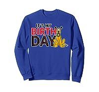 Disney Pluto My Birthday T Shirt Sweatshirt Royal Blue