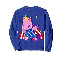 Dabbing Unicorn Merica 4th Of July For Shirts Sweatshirt Royal Blue