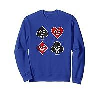 Playing Cards Emoji Spades Clubs Diamonds Hearts Shirt Sweatshirt Royal Blue