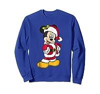 Disney Santa Mickey Mouse Holiday T-shirt Sweatshirt Royal Blue