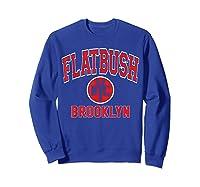 Flatbush Varsity Style Nyc Red Print T Shirt Sweatshirt Royal Blue