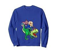 George Washington Riding T Rex Dinosaur 4th Of July Trex Shirts Sweatshirt Royal Blue