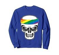 Funny Lbgt Gay Pride Rainbow Flag Skull Cool Art Gifts Shirts Sweatshirt Royal Blue