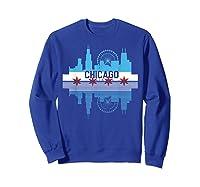 Chicago Skyline Shirt Silhouette Il City Flag Gift T Shirt Sweatshirt Royal Blue