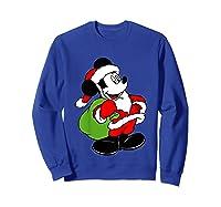 Disney Santa Mickey Mouse T Shirt Sweatshirt Royal Blue