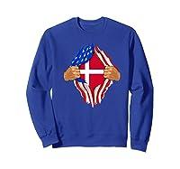 Danish Blood Inside Me T-shirt | Denmark Flag Gift Sweatshirt Royal Blue