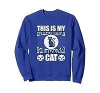 Halloween Cat Costume, This Is My Human Costume Retro Shirts Sweatshirt Royal Blue