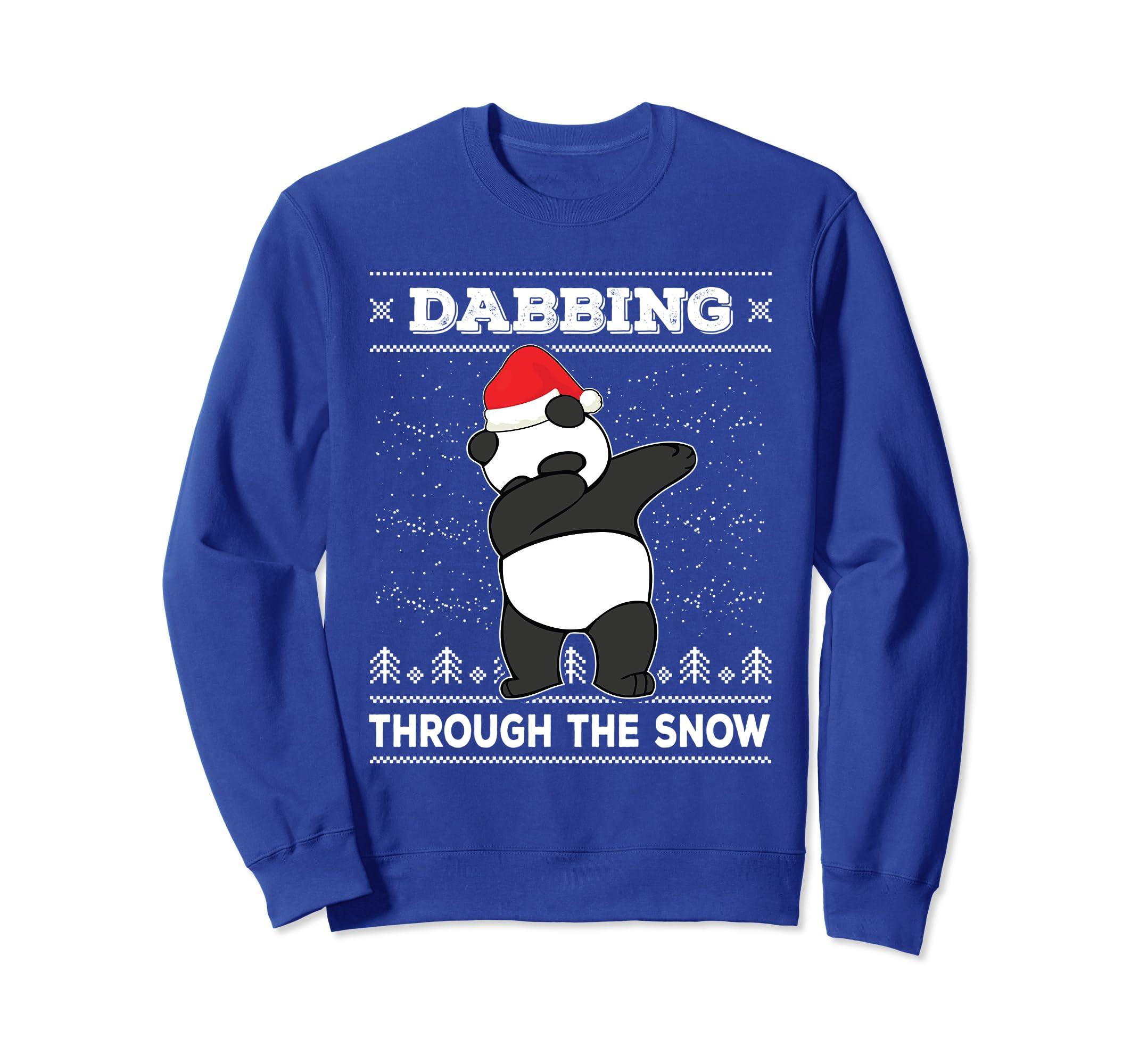 76e673a9d58fa Amazon.com  Dabbing Panda Ugly Christmas Sweater Dab Dance Sweatshirt   Clothing