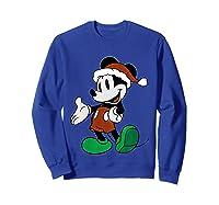 Disney Christmas Mickey Mouse T Shirt Sweatshirt Royal Blue