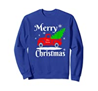Merry Christmas Old Vintage Red Truck With Christmas Tree Shirts Sweatshirt Royal Blue