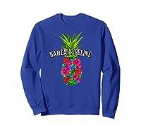 Banzai Pipeline Tropical Pineapple Flower Vacation T-shirt Sweatshirt Royal Blue