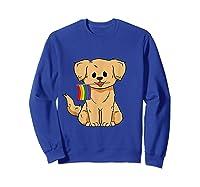 Pride Golden Retriever Dog Gay Lesbian Rainbow Flag Shirts Sweatshirt Royal Blue
