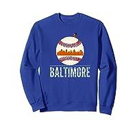 Baltimore Oriole Baseball Tshirt Hometown Skyline Design Premium T-shirt Sweatshirt Royal Blue