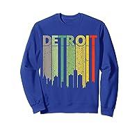 Retro Detroit Vintage Detroit Skyline Shirts Sweatshirt Royal Blue