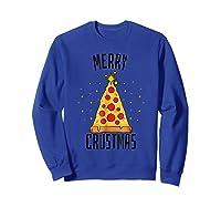 Merry Crustmas Pizza Pizza Lover Christmas Tree Shirts Sweatshirt Royal Blue