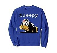 Sleepy Panda Shirt For Girls Cute Panda Flowers Lazy Relaxed Sweatshirt Royal Blue