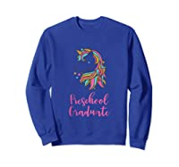 Unicorn Preschool Graduation Shirts Sweatshirt Royal Blue