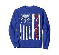 Patriotic American Usa Flag Correctional & Rn Nurse Tshirt Sweatshirt Royal Blue