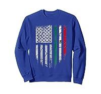 American Raised Mexican Roots Mexican Flag Gift Shirts Sweatshirt Royal Blue