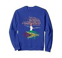 American Heart Guyanese Roots Patriot Usa Guyana Flag Shirts Sweatshirt Royal Blue