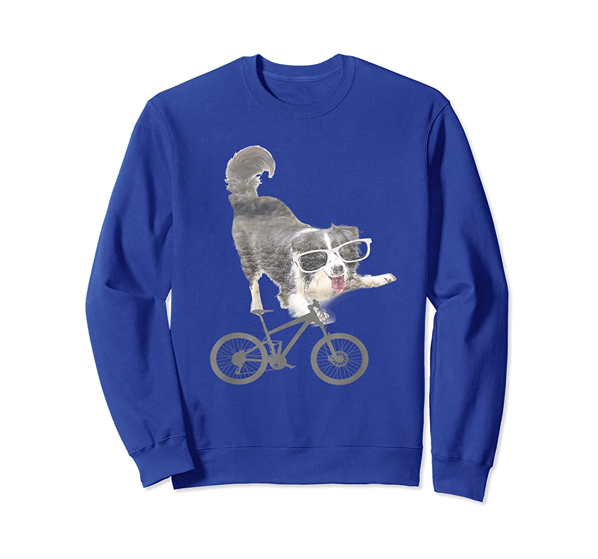 Border collie on a Bicycle T-shirt-Sweatshirt-Royal