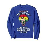 Ancestors Black African American Flag T Shirt Sweatshirt Royal Blue