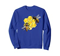 Honeycomb Pattern With Two Bees Drawing Shirts Sweatshirt Royal Blue