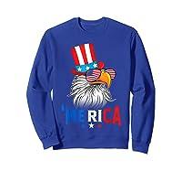 'merica Bald Eagle Sunglasses Flag Uncle Sam 4th Of July Shirts Sweatshirt Royal Blue