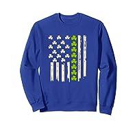 St Patricks Day Irish American Flag Saint Paddys Day T Shirt Sweatshirt Royal Blue