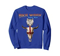 Bike Week Bull Head Skull Motorcycle T Shirt Sweatshirt Royal Blue
