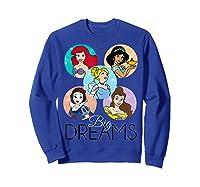 Princess Big Dreams Sparkle Character Bubbles Shirts Sweatshirt Royal Blue