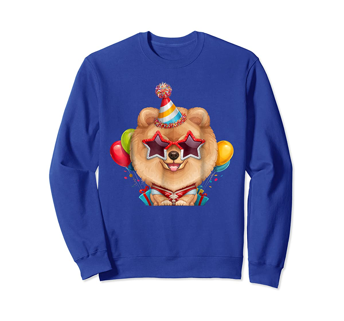 Orange Pomeranian in Glasses Birthday T-Shirt-Sweatshirt-Royal