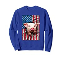 Pig American Flag Gift Funny 4th Of July America Shirts Sweatshirt Royal Blue