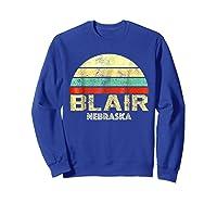 Blair Ne Nebraska Vintage Retro Sunset Tee T Shirt Sweatshirt Royal Blue