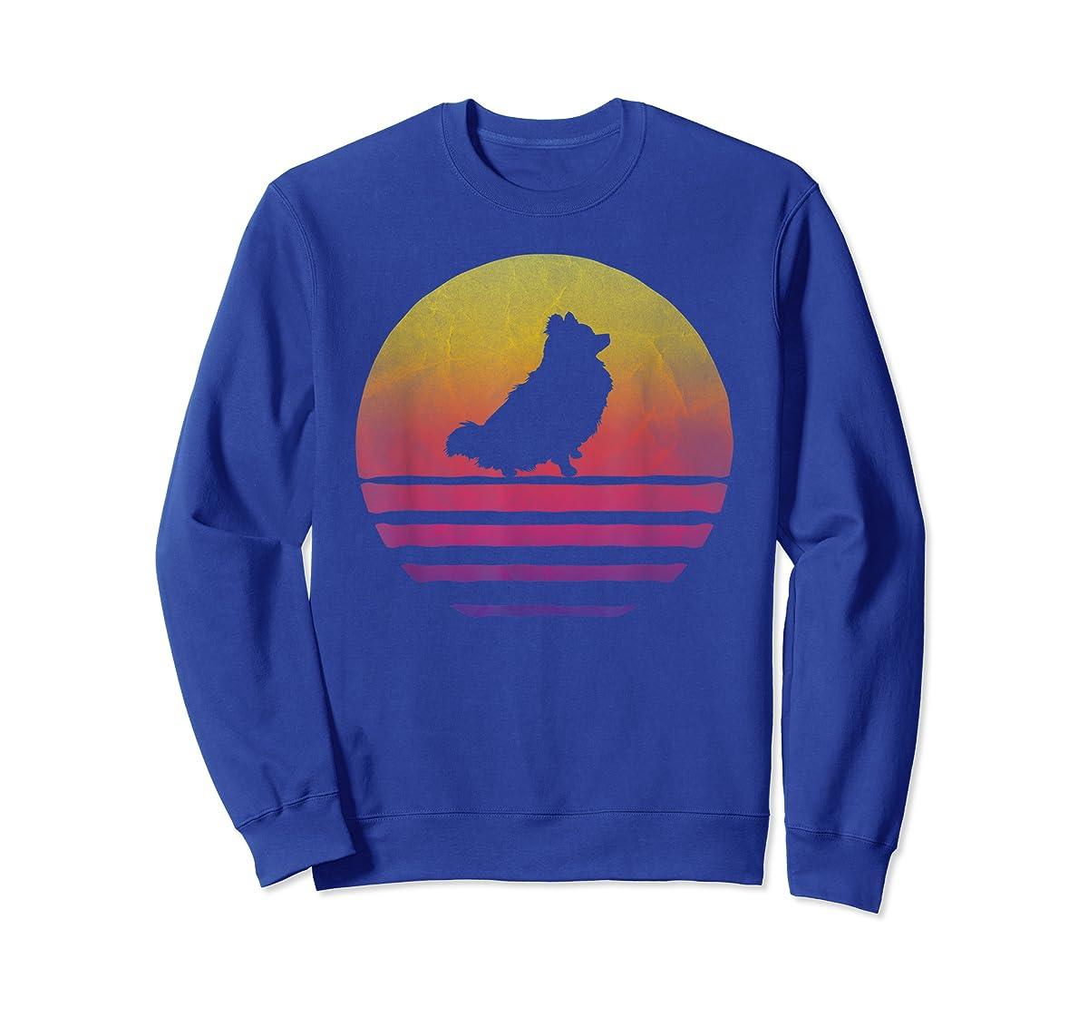 Retro Vintage Sunset Pomeranian Dog Lover Silhouette Gift T-Shirt-Sweatshirt-Royal