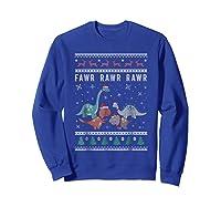 Dino Ugly Christmas Sweater Xmas Dinosaur Shirts Sweatshirt Royal Blue