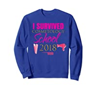 Pink I Survived Cosmetology School Out Gift Shirts Sweatshirt Royal Blue
